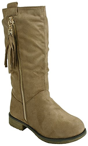 J.J.F Shoes Kids Girls Taupe Faux Suede Tassel Decor Dual Buckle Zipper Quilted Mid Calf Motorcycle Boots-10