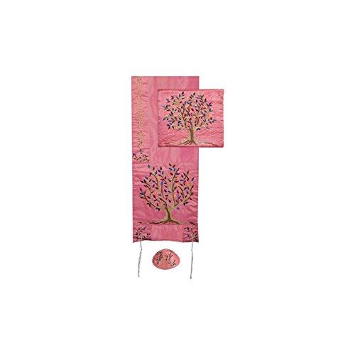 Yair Emanuel Tree of Life Design Embroidered Raw Silk Pink Tallit Set