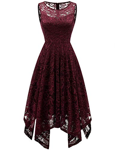 Gardenwed Women's Sleeveless Prom Lace Dress Asymmetrical Handkerchief Hem Cocktail Bridesmaid Dress Burgundy L ()