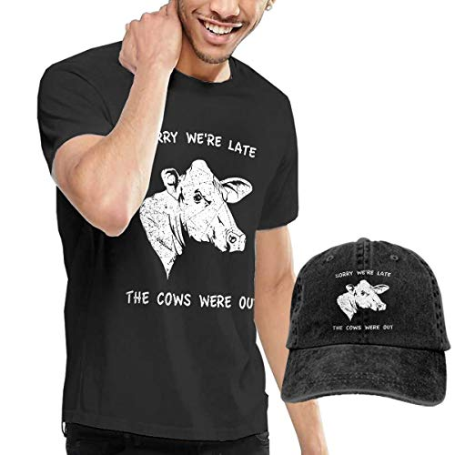 Gili-Boom The Cows Were Out Men's Short Sleeve Crewneck Cotton T-Shirt And Dad Hat Baseball Cap Polo Style For Men's