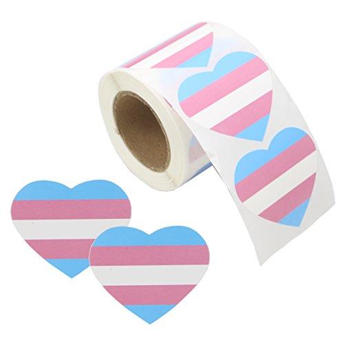 Pegatinas en forma de corazón para rollo de cinta adhesiva, diseño de orgullo gay LGBT, Transgender, Heart Transgender, 1