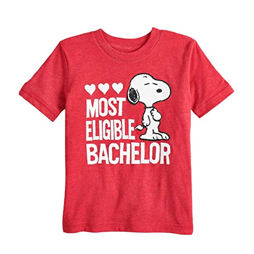 Jumping Beans Toddler Boys 2T-5T Snoopy Eligible Bachelor Graphic Tee 4T Red Heather