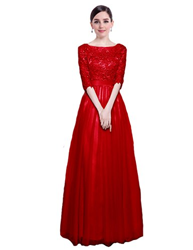 4 Tüll Damen Ballkleid Spitze 3 mit Lang Rot Partykleider Elegant Ärmel Abendkleider LuckyShe TO6FaqSS
