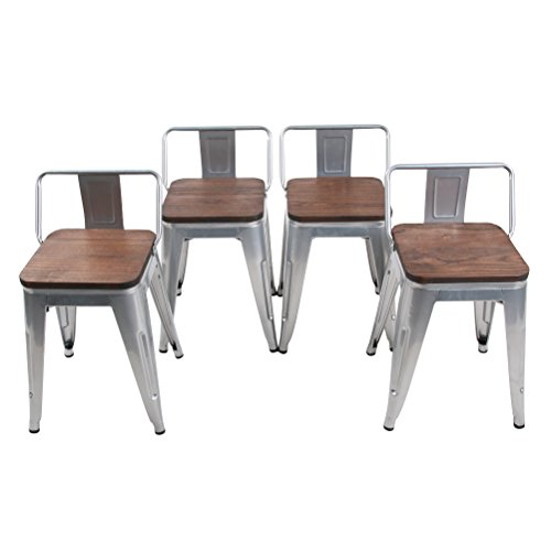 HAOBO Home Modern Industrial Metal Stool Low Back with Wooden Seat [Set of 4] Stackable for Indoor/Outdoor 18