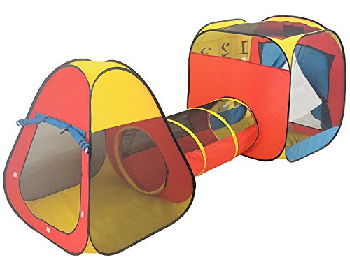 Spirich Kids Pop Up Kids Play Tent with Tunnel, Kids Ball pit with tunnel, Playhouse Gift for Boys, Girls, Babies and Toddlers for Indoor & Outdoor (Tunnel Playhouse)