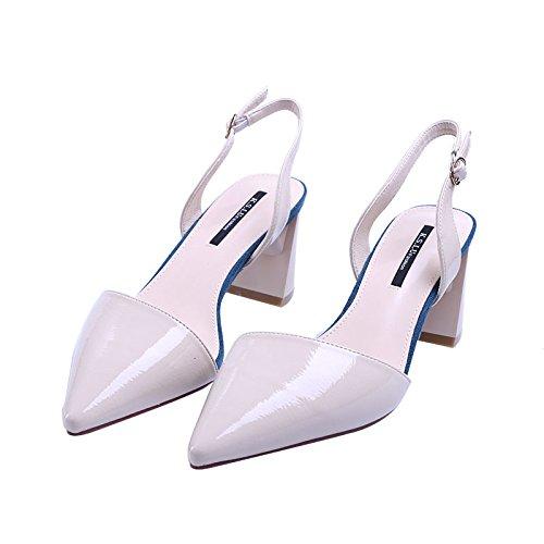 SFSYDDY Baotou Sandalias Verano Laca Hebillas Rough Heels Salvaje Tacones Altos Zapatos De Punta Mujeres Beige