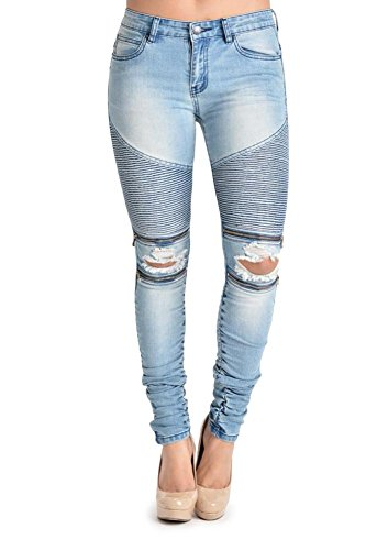 G-Style USA Women's Biker Style Ripped Zip Rider Jeans – RJL462 – BLUE – 1 – N4