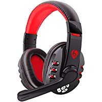 Wireless Bluetooth Headphones, Bodecin Skin Friendly Leather 3D Sound Sport Rechargeable Bluetooth Headsets for iPhone/iPad/Android Build in Mic with USB Charging Cable(Black+Red-V81)