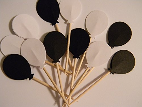 24 mixed black and white balloon balloons cupcake toppers food picks birthday party decor