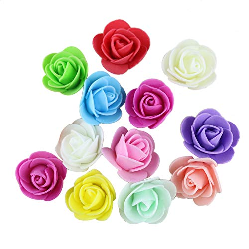 attrasfjwanrw 50Pcs Mini Foam Roses Artificial Flower, Wedding Bride Bouquet Party Decor, 3.5cm Mixed ()