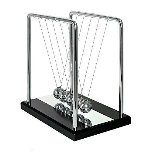 XCH Robots Newtons Cradle, 5 Pendulum Balls, Big Newtons Cradle Balance, Metal Balls for Office Toys, Physics Toys, Teacher Toys, Steel Ball Toy, Metal Ball Pendulum, Black Wooden