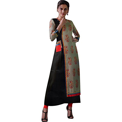 Ladyline Womens Designer 3/4 Sleeves Tunic Top Rayon & Silk Kurti Kurta Indian (3/4 Sleeve Silk Tunic)