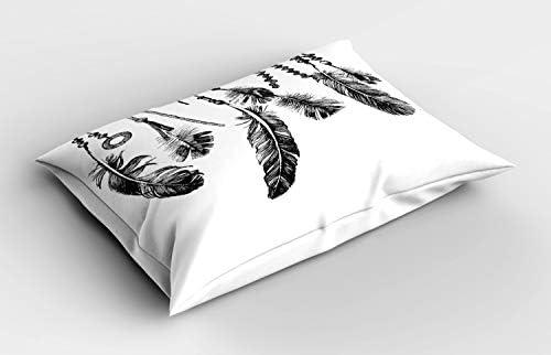 ABAKUHAUS Tribal Siersloop voor Kussen inheemse Veren Decoratief Standaard Maat Bedrukte Kussensloop 80 cm x 40 cm Wit en zwart