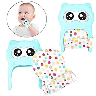 Vantic Baby Teething Mittens, Removable Toddler Mitten Teething Mitt, Cute Raccoon Teether Gloves, Ideal for 3-12 Month Infants Teething Pain Relief and Scratches Protection, 2 Packs: Toys & Games