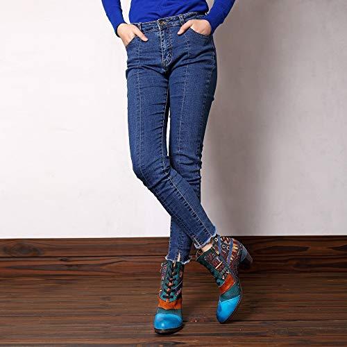 Cordones Damas Hechos Costura Blue Mujer Blue Mano 39eu De Para Size Craft Mxnet A Cuero color Jacquard Botas Coloridas Ctq8O
