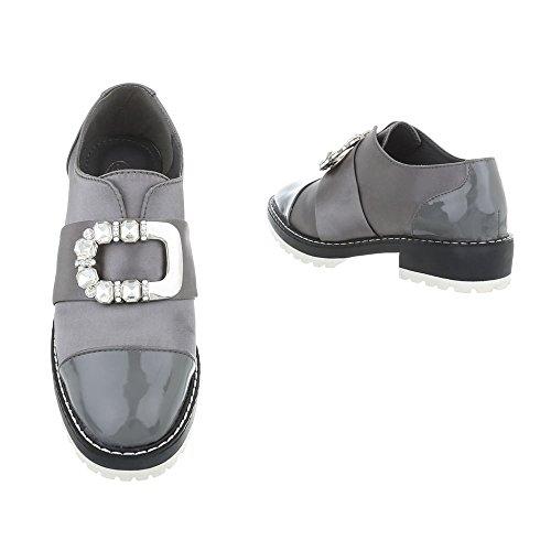 Bloc Slippers design Chaussures Ital Mocassins Femme Gris Wqw0BZFFIc