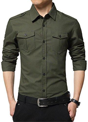 JZOEOEU Mens Casual Slim Fit Button Down Long Sleeve Shirts Army Green Asian Tag 2XL(US S)