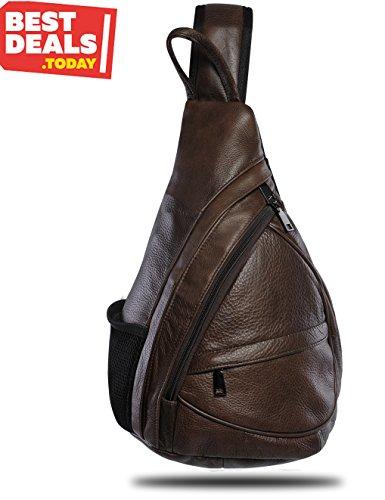 Best Deal! Leather Sling Bag Backpack, Multipurpose Outdoor Chest Bag Crossbody Bag for Men & Women 15L