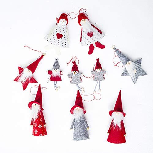 IdealHome 10 Pcs Mini Cute Santa Snowman Doll Decoration Christmas Tree Wall Hanging Gift Ornament Plush Soft Kids Doll