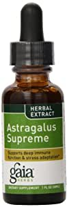 Gaia Herbs Astragalus Supreme Supplement Bottle, 1 Ounce (Pack of 2)