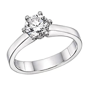 IGI Certified 14k white-gold Round Cut Diamond Engagement Ring (0.50 cttw, F Color, SI2 Clarity) - size 7.5