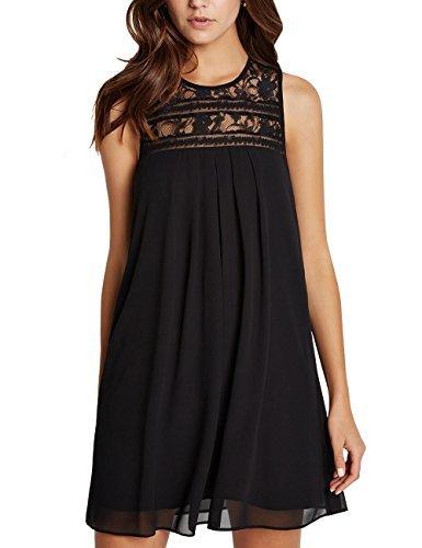 Dohia Women's Sleeveless Lace Patchwork Loose Casual Mini Chiffon Dress C1611 (XXL, Black)