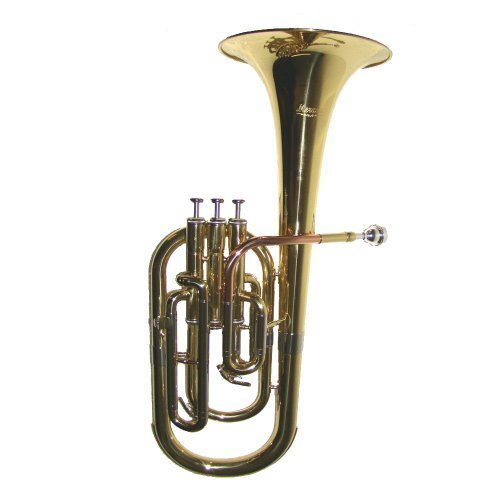 Merano Student, Intermediate E Flat Gold Alto Horn with Case, Mouth Piece,A pair of white gloves;Soft Cleaning Cloth,Metro Tuner,Music Stand