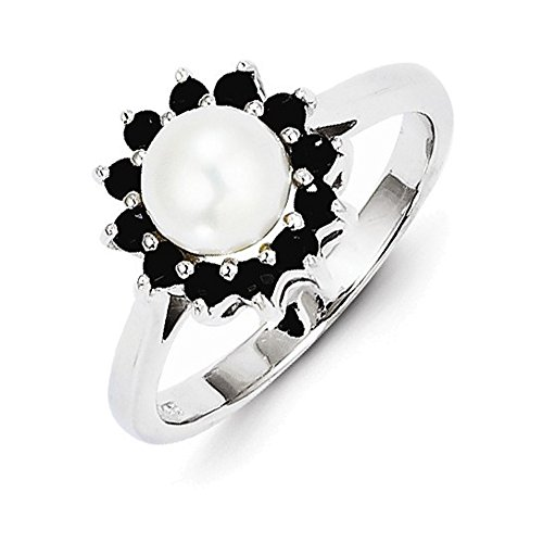 Jewelry Adviser Rings Sterling Silver Rhod 6mm FW Cultured Button Pearl & Sapphire Ring Size 8