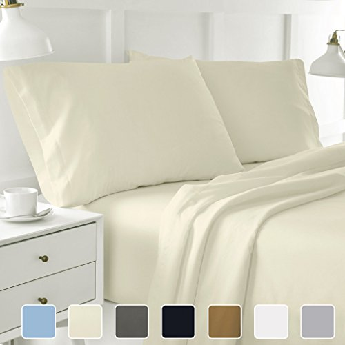 Cottington Lane 400 Thread count Sateen Weave Sheen & Softer feel 4 Pieces Bed Sheet Set 100% Pure Natural Cotton Super finish fit Mattress up to 15 Inches deep pocket. (King, Solid Ivory)