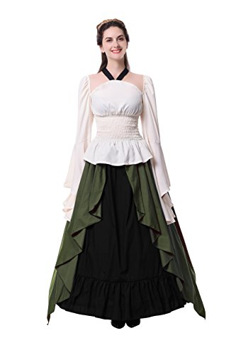 Womens Renaissance Medieval Costume Dress Gothic Victorian Fancy Dresses (XX-Large, Army (Military Fancy Dress Costumes)