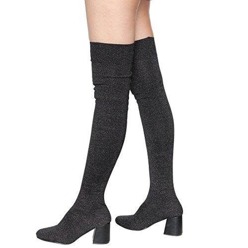 Beston EI94 Womens Stretchy Sock Knitting Pull on Block Heel Thigh Hight Boots Black Glitter uKYCU84kJk