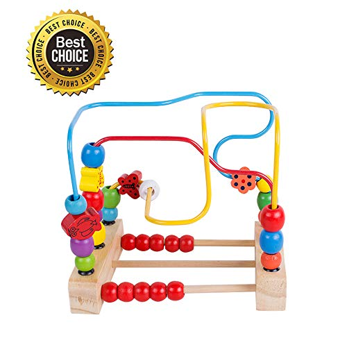 vinmax Wooden First Beads Maze Roller Coaster Circle Manipul