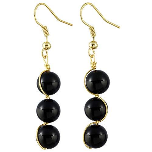 TUMBEELLUWA Stone Dangle Earrings Healing Crystal Beads Copper Wire Wrapped Hook Drop Earring Handmade Jewelry for Women,Black Agate Crystal Dangle Bead Earrings