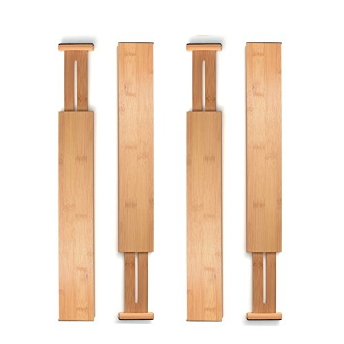 Bambusi Drawer Divider Organizers Set of 4 - Spring Adjustable & Expendable Bamboo Kitchen Drawer Organizer | Best for Kitchen, Dresser, Bedroom, Baby Drawer, Bathroom & Office Desk