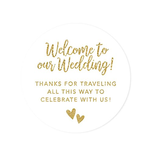 (Andaz Press Out of Town Bags Round Circle Gift Labels Stickers, Welcome to Our Wedding Thanks for Traveling to Celebrate with Us, Faux Gold Glitter, 40-Pack, for Destination OOT)