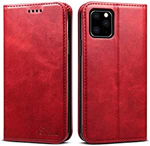 Simple iPhone 11 leather phone case flip cover with card holder anti fall protective sleeve red