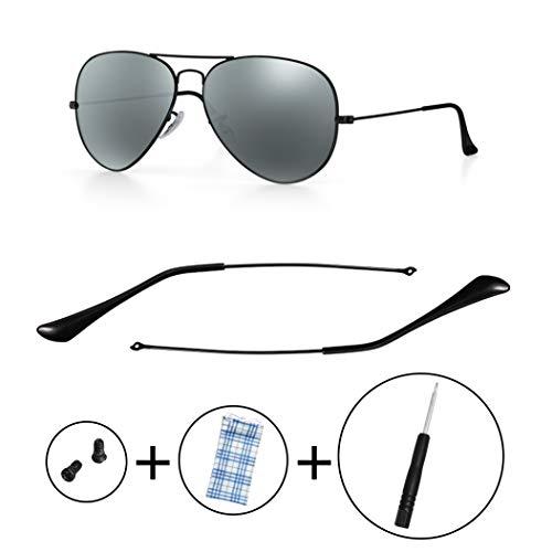HEYDEFO Replacement Temple Tips Temple Arms for Ray-Ban Aviator RB3025 3025 Sunglasses Repair Kit,Bonus Screws/Screwdriver/Sunglasses Bag,Black