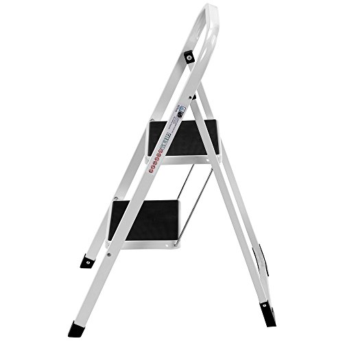 VonHaus Steel 2 Step Ladder Folding Portable Stool with 330lbs Capacity - Lightweight and Sturdy, White, 2 Step by VonHaus (Image #2)