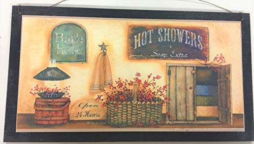 Hot Showers Open 24 Hours soap Extra Country Bath Wood Sign Bathroom Decor Decorations