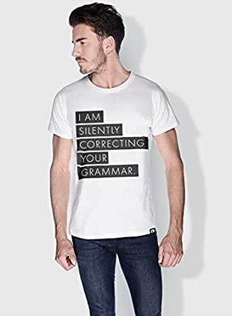 Creo Silently Correcting Your Grammar Funny T-Shirts For Men - L, White