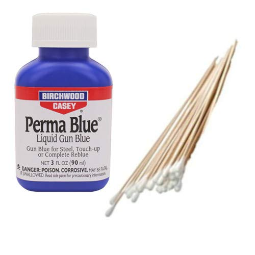 Birchwood Casey, Westlake Market Perma Blue Gun Blue Bottle with 25 Cotton Swabs for Restoring Guns and Other Metal Items