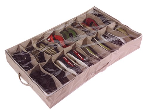 Large Heavy Duty 16 Pocket Underbed Shoe Storage Bag for up to 16 Pairs - Robust Oxford Canvas Type Beige Material (600D) with Clear PVC Lid - 60 x 15 x 100cm - Shoes Under Bed Organiser - Shoe Storage Tidy Fabric Organizer Holder Box Closet Container by Brilliant Feet