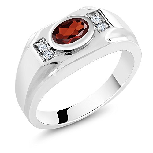 1.56 Ct Oval Red Garnet White Created Sapphire 925 Sterling Silver Men's Ring (Ring Size 10) (Garnet Vintage Bands)