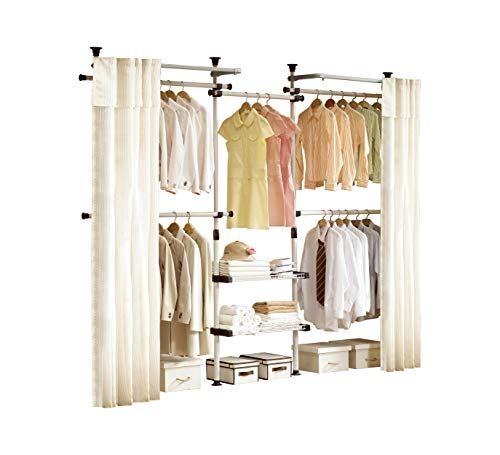 Cheap  PRINCE HANGER | Deluxe 4 Tier & Shelf Hanger with Curtain |..