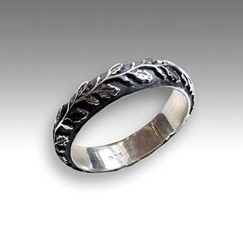 7mm wide Silver wedding band Bohemian vine Leaves nature ring - Waves of love R2152 (Love Vine Ring)