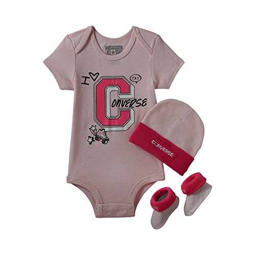 Converse Infant Baby Girls Team Spirit Bodysuit, Hat & Socks 3 Piece Infant Set (Arctic Pink (10006295-650) / White, 6-12 Months) ()
