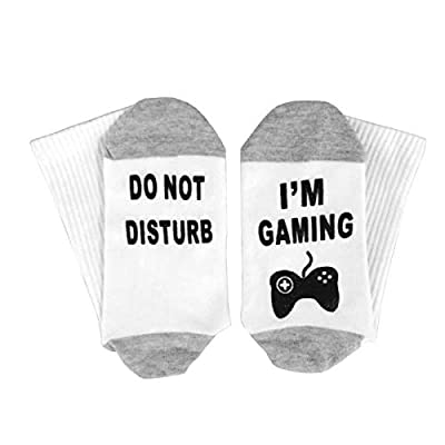 XYSOCKS Funny Socks with I'M GAMING DO NOT DISTURB Printted Cotton Crew socks Best Gift For Game Lovers