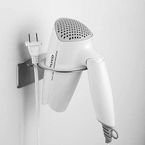 Organizer per appendiabiti per spazzole per capelli Staffa in metallo a parete senza perforazione Wovatech Supporto per piastra per asciugacapelli Appendiabiti a spirale resistente al calore