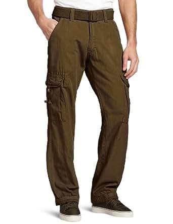 Akademiks Men's Montana Belted Cargo Pant, Olive, 30x30