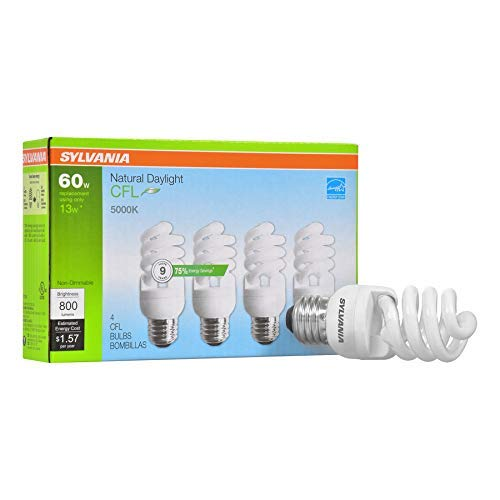 Sylvania Natural Daylight CFL 5000K 60W/13W 4Pack